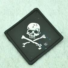 New Black Square Skull Crossbone Rubber PVC Rubber Velcro Patch Cute Stick Badge