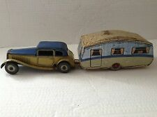 Mettoy Tinplate clockwork Saloon Car with Caravan 1950's