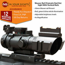 4X32 Prismatic rifle scope / Fiber optic dot sight with illuminated recticle