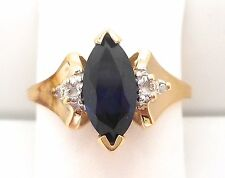 10K YELLOW GOLD MARQUISE SAPPHIRE AND DIAMOND RING RETAIL $ 250 JG1