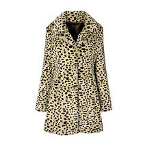 MISS SELFRIDGE SIZE 14-16 FAUX FUR LEOPARD PRINT WOMENS JACKET LADIES COAT