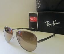 RAY BAN gunmetal/brown POLARIZED RB8307 CARBON FIBRE TECH aviator SUNGLASSES NEW