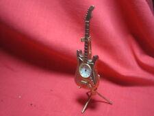 Vintage Mini Gold Tone Guitar Souvenir Novelty Quartz Watch with Stand