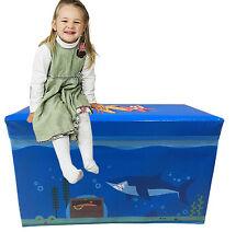 Storage Toy Box imbottito per bambini sedile a panchina pesci d'acqua per bambini gioco sul petto camere da letto