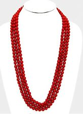 "90"" Very Long Red Artificial Pearl Bead Multi Layered Strand Costume Necklace"