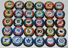 "HOCKEY PUCKS ALL 30 NHL TEAMS Complete Set ""Retro"" Series InGlasCo Puck Lot NEW"