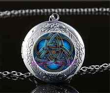 Blue celtic triquetra Cabochon Glass Tibet Silver Locket Pendant Necklace#F55