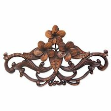 Wood Wall Sculpture Hand Carved Accent 'Frangipani Garland' NOVICA Bali