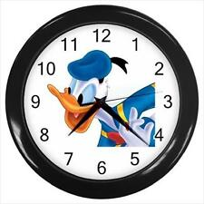 "Brand New Donald Duck Black Frame 10"" Round Wall Clock"