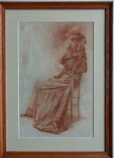 NELL MARION CUNEO (NEE TENISON) 1867-1953 ORIGINAL SIGNED DRAWING 'SEATED LADY'