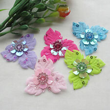 50pcs Felt Padded Flowers w/Left Rhinestone Appliques Craft Sewing A0387