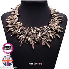 NEW GOLD BRONZE LEAF STATEMENT NECKLACE BIB WOMENS LADIES CHOKER ELEGANT UK