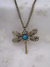 Long Gold Dragonfly Pendant Necklace Turquoise Rhinestone Fashion Jewelry NEW