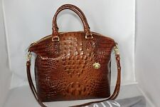 BRAHMIN Melbourne Collection LG Duxbury Dome Satchel / Handbag - Toasted Almond
