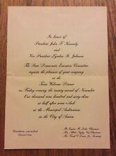 1963 Texas Welcome Dinner President John F. Kennedy Invitation Assassination