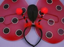 Girls Ladies Womens Fancy Dress Ladybird Lady Bird Bug Ladybug Wings & Boppers