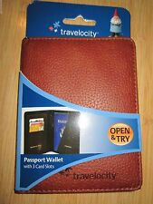 NEW* Passport Wallet Travelocity VEGAN FAUX LEATHER BROWN