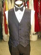 Mens Formal Vest Dark Blue Paisley Size M Matching Bow Tie