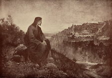Original c1904 Antique Religious Print Jesus Christ Wept Weeps Seeing Over City