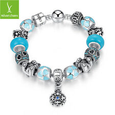 Authentic Blue Murano Beads Bracelet With Bear Flower Heart Charms For Christmas