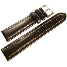 22mm deBeer Mens Brown Oil Tan Leather Contrast White Stitch Watch Band Strap