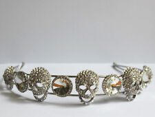 Butler and Wilson Clear Crystal Stone and Skull Headband New HALLOWEEN GOTH SALE