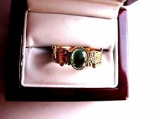 "ANTIQUE VICTORIAN 9 Ct YELLOW GOLD RING ""EGYPTIAN REVIVAL"" w/GREEN TOURMALINE"