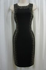 Calvin Klein Dress Sz 4 Black Embellished Sleeveless Evening Cocktail Party Dres