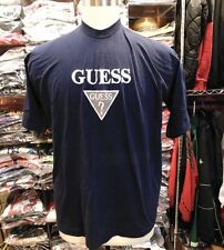 VINTAGE GUESS NAVY BLUE WITH SILVER EMBROIDERED LOGO  T-SHIRT MEN SIZE XL -USA