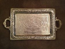 "PERSIAN PARVARESH 84 SILVER CARVED TRAY 14""x 9 1/2"" + HANDLE 36 OZ  1020.58 GR"