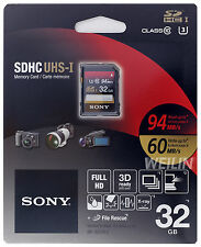 SONY SDHC UHS-I U3 32GB SD Memory Card Class 10 94MB/s FULL HD 3D Ready 32G
