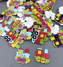 20pcs train Wood Buttons 2 Holes Fit Sewing Scrapbook Crafts DIY decoration 25mm