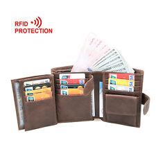 Vintage Men Genuine Leather RFID Blocking Wallet Trifold Short Purse Card Holder
