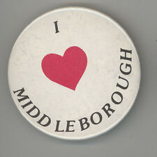 I LOVE MIDDLEBORO Middleborough MASSACHUSETTS Pinback PIN Button BADGE Mass MA