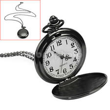 Men Women Vintage Style Black Fob Pocket Analog Quartz Dial Necklace Chain Watch