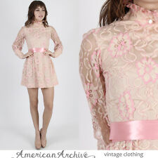 Vintage 60s Pink Lace Dress Sheer Floral Wedding Cocktail Party Mod Scooter Mini