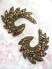 """JB186 Glass Beaded Appliques Mirror Pair Bronze Brown Iron On Patch Motifs 2.5"""""""