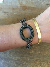 NEW Dark Hematite Ion Plated Double Link Circular Center Pave BRACELET Gorgeous!