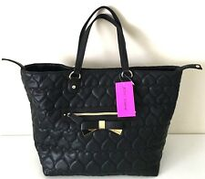 Betsey Johnson Trap Tote Be Mine Quilted Heart Bow Bag Black NWT