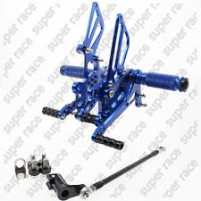 Adjustable CNC Rearsets Footpegs Pedals Footrests For Yamaha YZF R1 04-2006 Blue