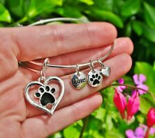 Pet Lover Expandable Wire Bangle Bracelet Sterling Silver Plt Charms Paw Print