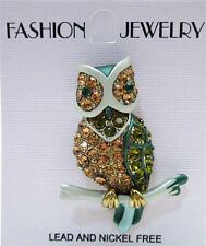 OWL PIN ~ GREEN CRYSTAL PIN ~ GOLDTONE SMALL BROOCH ~ NEW