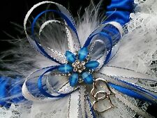 PLUS SIZE Royal Blue & White Lace GARTER FEATHERS Prom Wedding Special Bridal