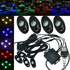 4Pcs Waterproof LED Rock Light Remote Control Off Road Truck ATV SUV Underbody