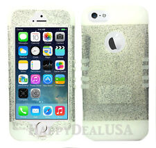 KoolKase Hybrid Silicone Cover Case for Apple iPhone 5 5S - Clear Glitter Silver