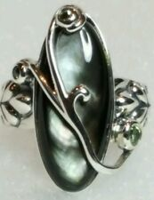 CAROLYN POLLACK Mother-of-Pearl And Peridot Statement Sterling Silver Ring Sz. 6