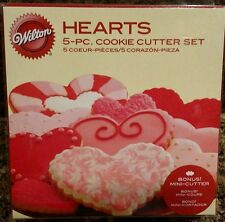 Wilton 5 piece Heart Cookie Cutter Set Includes Bonus Mini Cutter NEW!