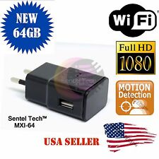 EU Plug 64GB 1080P WIFI USB SPY Hidden Wall Phone Charger Camera AC Adapter