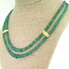 LATE 20th CENTURY DOUBLE STRAND EMERALD BEAD & DIAMOND NECKLACE - 18k - c 1980
