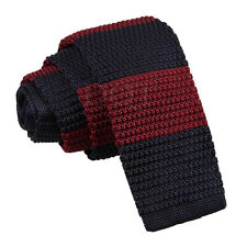 Men's Knitted Polyester Single Striped Square Cut End Tie - Evening Work Party